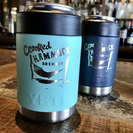 Yeti beer koozie with Crooked Hammock logo