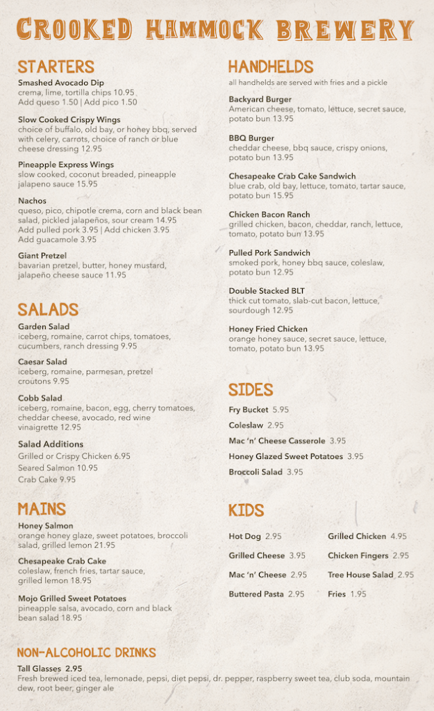 Crooked Hammock Brewery Middletown to go menu
